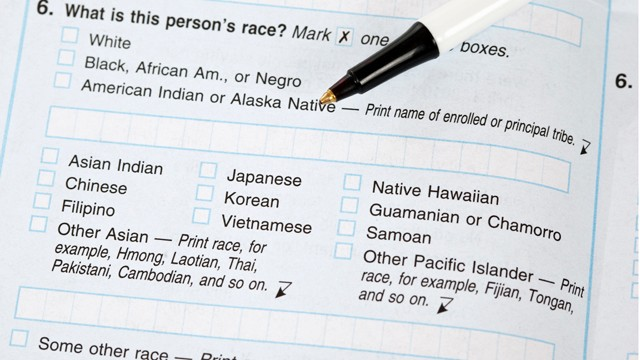 PHOTO: On the 2010 Census form, pictured above, residents were asked to give their race and their ethnicity in two separate questions.