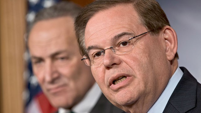PHOTO: Sen. Robert Menendez, D-N.J., join a bipartisan group of leading senators to announce that they have reached agreement on the principles of sweeping legislation to rewrite the nation's immigration laws, Washington DC, Jan. 28, 2013.