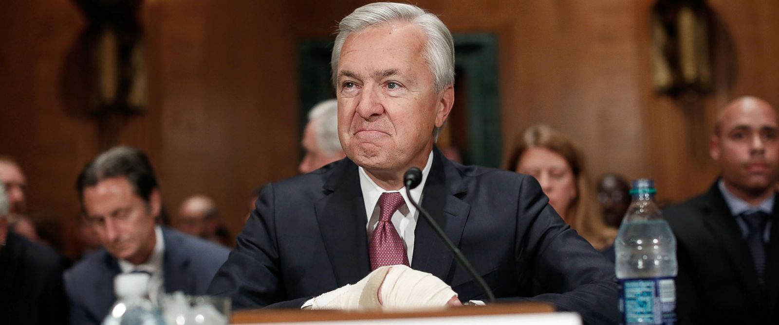 PHOTO: John Stumpf, chairman and CEO of the Wells Fargo & Company, prepares for testimony before the Senate Banking, Housing and Urban Affairs Committee, Sept. 20, 2016, in Washington.