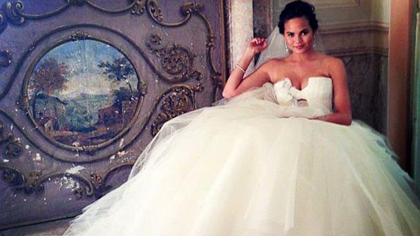 chriss teigen | celebrity wedding gowns