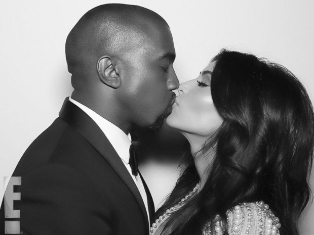 PHOTO: Kanye West and Kim Kardashian kiss shortly after their nuptials took place at Forte di Belvedere in Florence, Italy, May 24, 2014.
