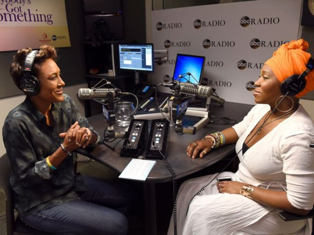 PHOTO: Robin Roberts interviews multiple Grammy Award-winner India Arie for Everybodys Got Something podcast for ABC Radio.