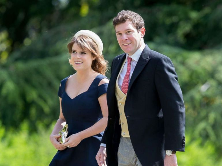PHOTO: Princess Eugenie and Jack Brooksbank arrive at the wedding of James Matthews and Pippa Middleton, St Marks Church, May 20, 2017, in Englefield, U.K.