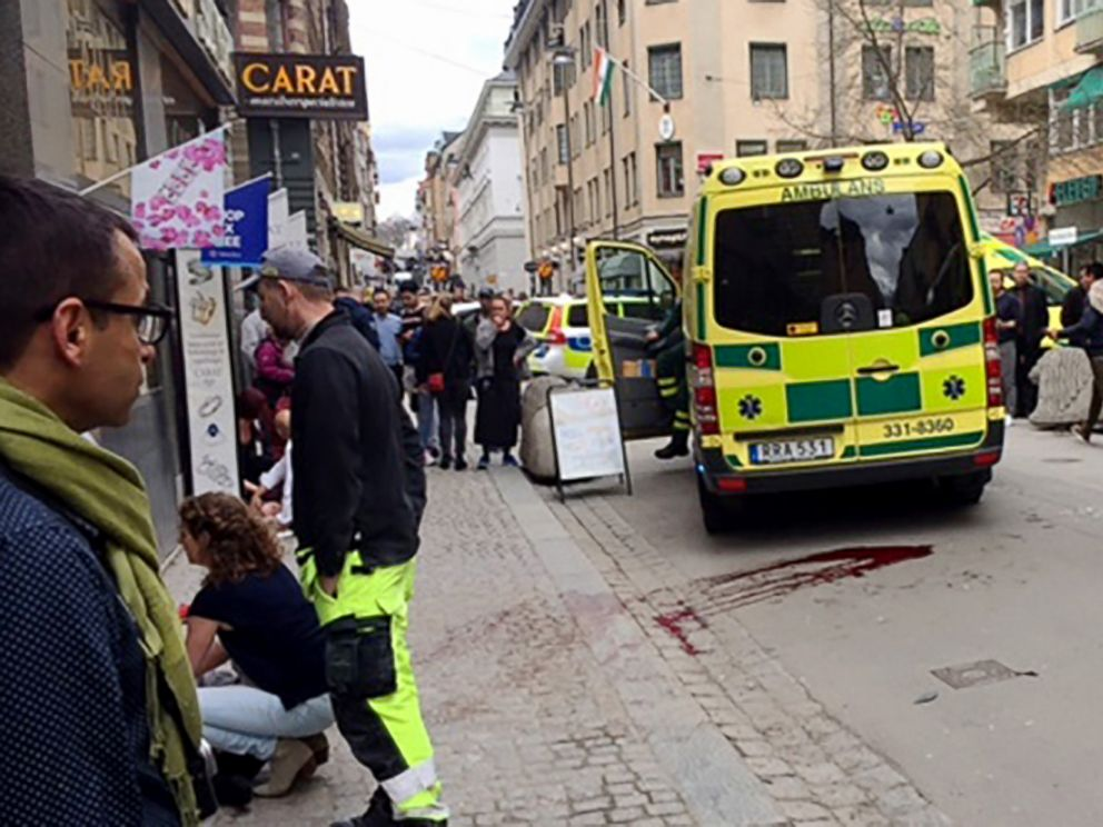 PHOTO: Blood is smeared on the street at the scene after a truck crashed into a department store in central Stockholm, April 7, 2017.