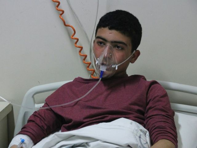 PHOTO: A victim of the alleged chemical weapons attacks in Syrian city of Idlib, is seen at a local hospital in Reyhanli, Turkey.
