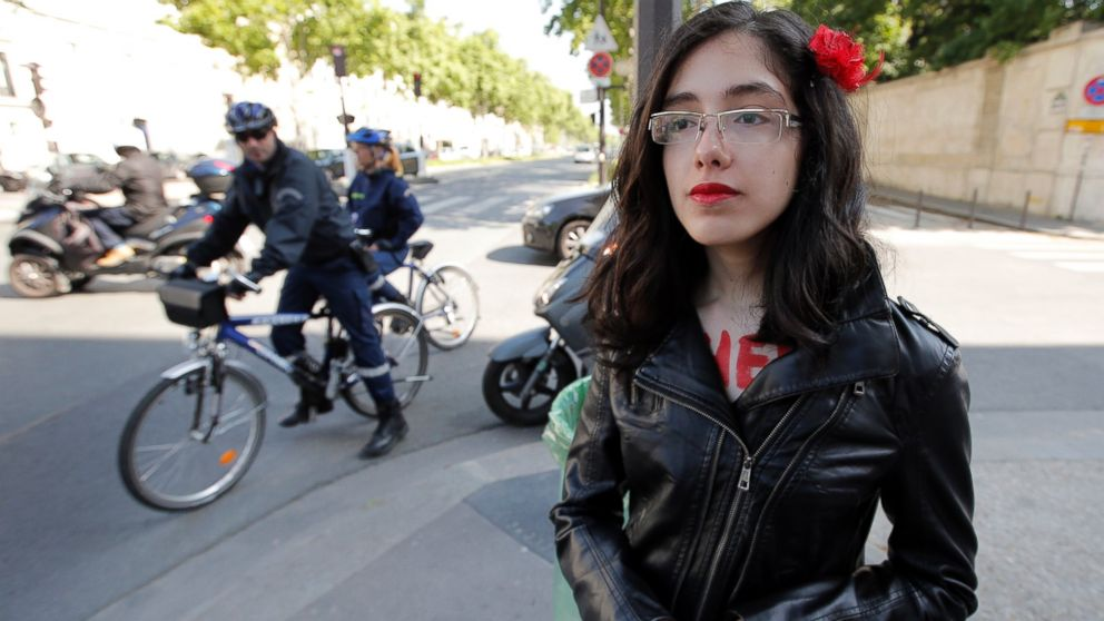 PHOTO: Activist from the womens movement FEMEN, Aliaa Magda Elmahdy of Egypt poses after a protest in front of the embassy of Tunisia, in Paris, June 5, 2013.