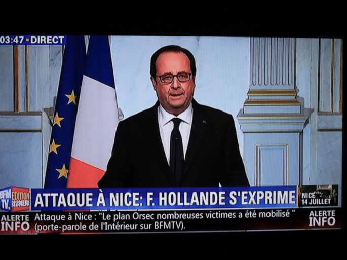 PHOTO: This still image from a BFM TV telecast shows French President Francois Hollande speaking about the attack in Nice on July 14, 2016 in Elysee, Paris.