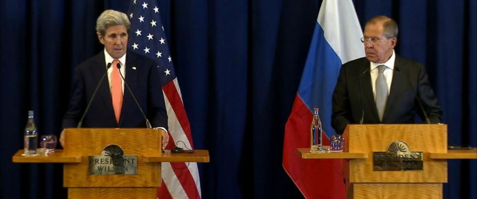 PHOTO: Secretary of State John Kerry, left, and Russian Foreign Minister Sergei Lavrov speak at a press conference, Sept. 9, 2016.
