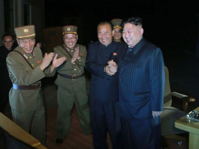 PHOTO: A picture released from the Korean Central News Agency (KCNA) on July 29, 2017 shows North Korean leader Kim Jong-Un, celebrating a test launch of an intercontinental ballistic missile (ICBM), Hwasong-14 at undisclosed place in North Korea.