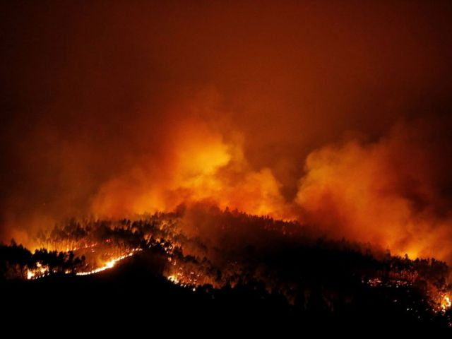 PHOTO: A forest fire is seen near Tojeira, Pedrogao Grande, in central Portugal, June 18, 2017.