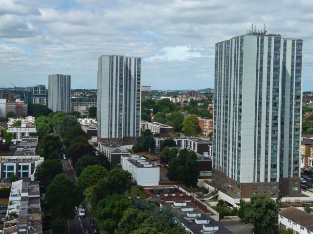 PHOTO: The Taplow, Bray and Dorney residential tower blocks on the Chalcots Estate are pictured in north London on June 23, 2017.