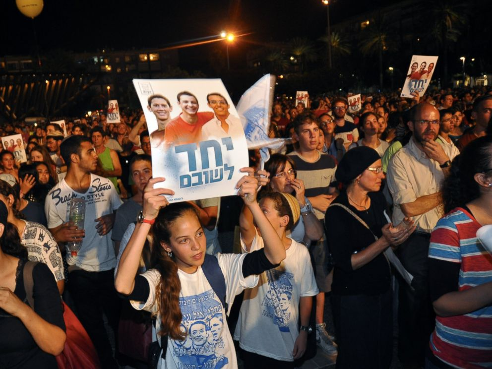 PHOTO: Thousands of people gathered in Tel Avivs Rabin Square on June 29, 2014 for a rally calling for the release of the three Israeli boys who  were kidnapped on June 19 near the West Bank settlement of Gush Etzion.