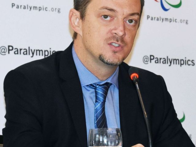 PHOTO: International Paralympic Committee President Andrew Parsons holds a press conference in Bonn, Germany, Jan. 29, 2018.