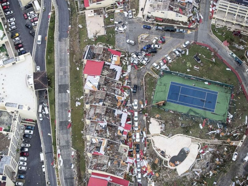 PHOTO: An aerial photo shows the damage from Hurricane Irma on the Caribbean island of St. Martin, Sept. 6, 2017.