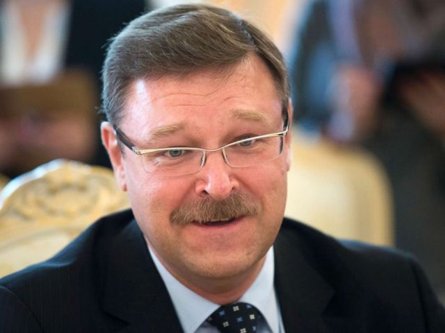 PHOTO: Konstantin Kosachev, head of a government agency in charge of relations with ex-Soviet nations, speaks at a news conference in Moscow, June 20, 2014.