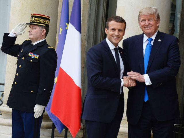 PHOTO: French President Emmanuel Macron receives President Donald Trump at the Elysee Palace, July 13, 2017, in Paris.