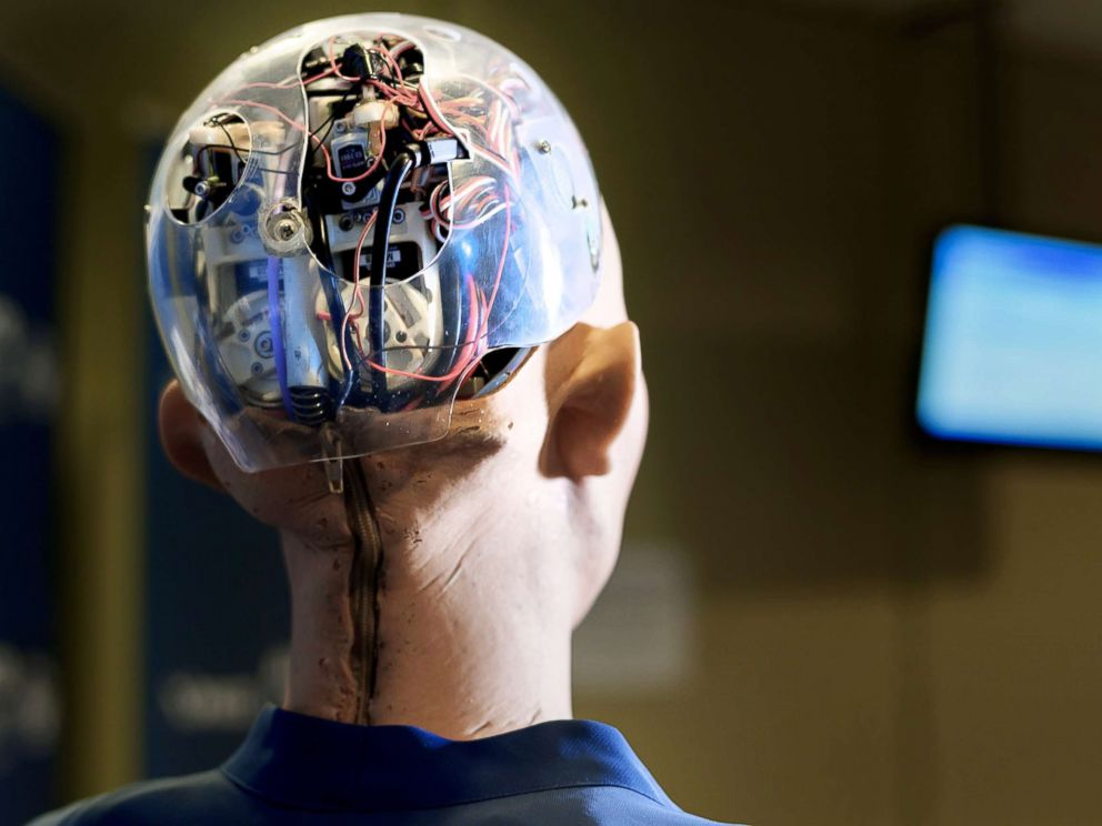 PHOTO: Sophia an artificially intelligent human-like robot is pictured during the AI for Good Global Summit, June 7, 2017, in Geneva.