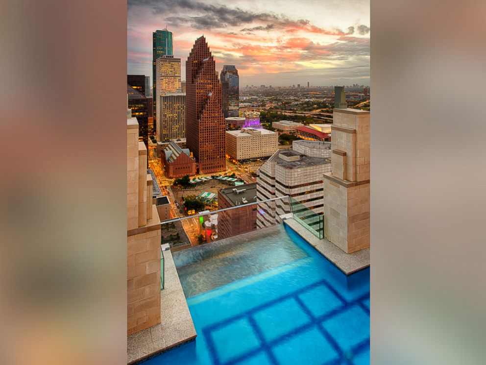 Rooftop pool hangs 500 feet above downtown Houston  ABC News