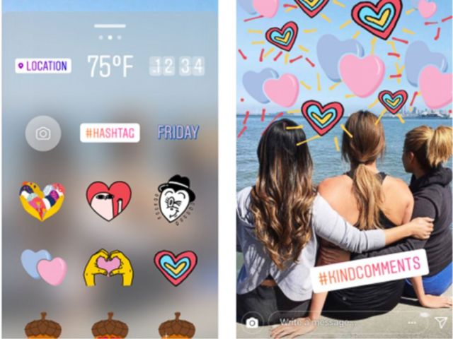 PHOTO: An illustration on the Instagram Blog which shows the kindness walls and stickers that they will be encouraging others to use. Instagram has announced that they have unveiled new settings to help fight cyberbullying.