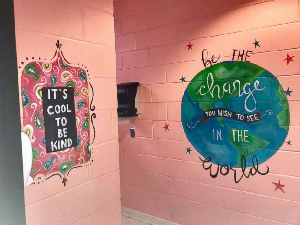 Woman Paints Motivational Messages In Middle School Girls