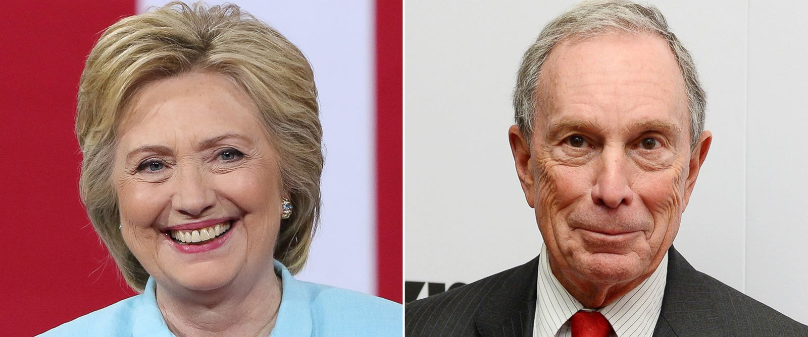 PHOTO: (L-R) Pictured are Hillary Clinton in Miami, Florida, July 23, 2016 and Michael Bloomberg in New York City, Dec. 17, 2015.