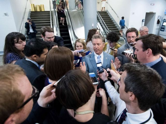 PHOTO: Sen. Rand Paul speaks with reporters as he leaves the Capitol following a vote on, June 26, 2017.