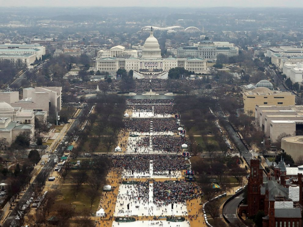 Image result for crowds at obama inauguration side by side with trump's