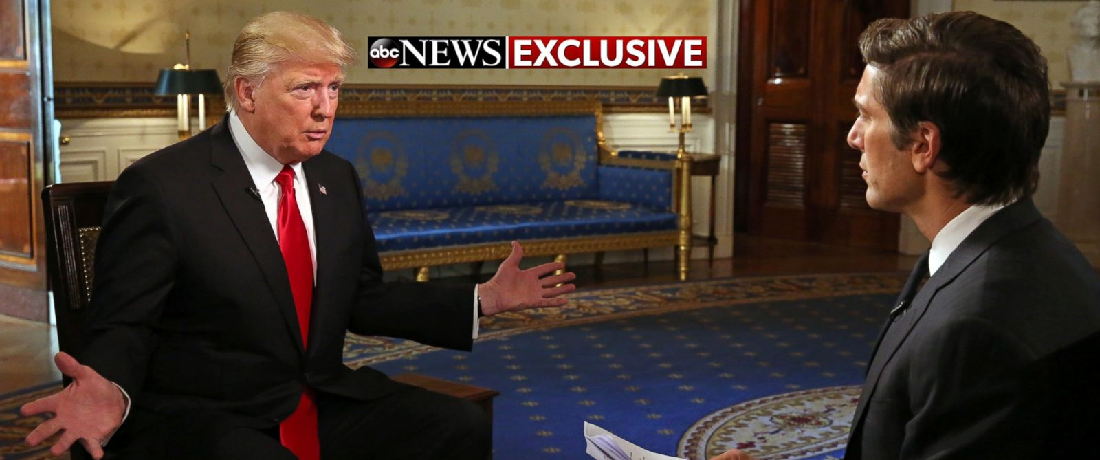 PHOTO: ABC News David Muir talks to President Donald J. Trump in the Blue Room of the White House during Trumps first one-on-one television interview since being sworn in as the 45th president of the United States, Jan. 25, 2017.