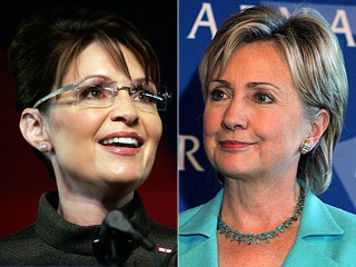 Split pic image of Sen. Hillary Clinton and Alaska Gov. Sarah Palin, who is serving as Sen. John McCain's vice presidential running mate