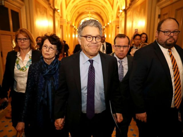 PHOTO: Sen. Al Franken and his wife Franni Bryson arrive at the U.S. Capitol Building, Dec. 7, 2017, in Washington, DC.