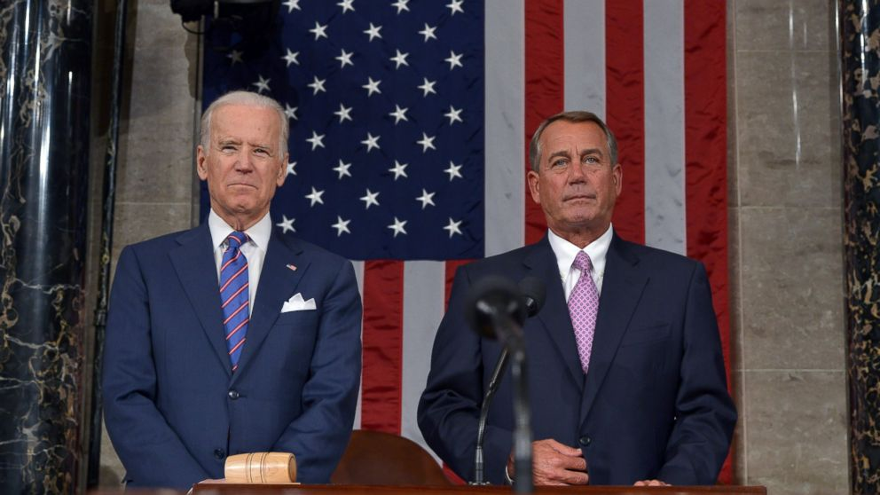 PHOTO: Vice President Joe Biden, left, and Speaker of the House John Boehner wait for the start of the State of the Union address by President Barack Obama, Jan. 20, 2015, in the House Chamber of the Capitol in Washington.