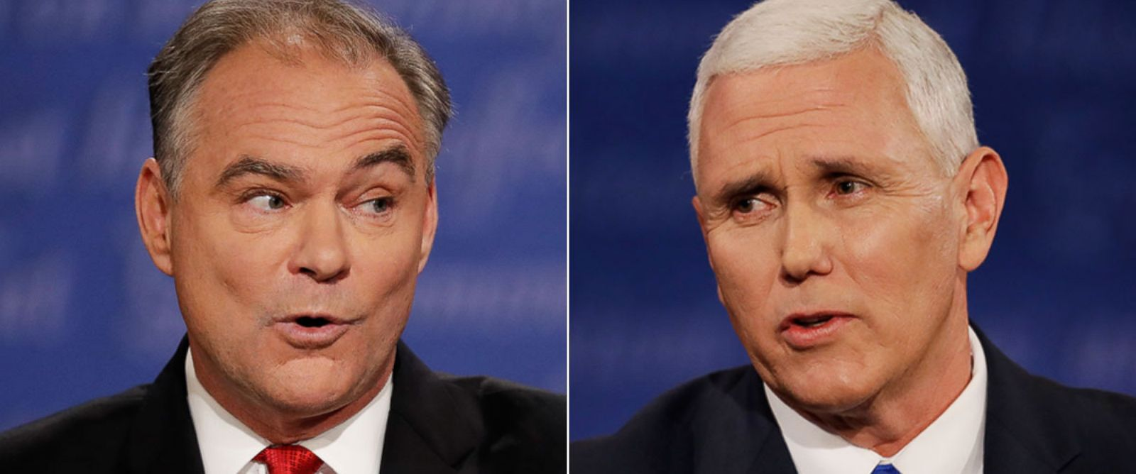 PHOTO: Republican vice-presidential nominee Gov. Mike Pence and Democratic vice-presidential nominee Sen. Tim Kaine during the vice-presidential debate at Longwood University in Farmville, Va., Oct. 4, 2016.