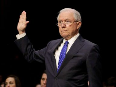 PHOTO: U.S. Attorney General Jeff Sessions is sworn in before testifying before a Senate Judiciary oversight hearing on the Justice Department on Capitol Hill in Washington, Oct. 18, 2017.
