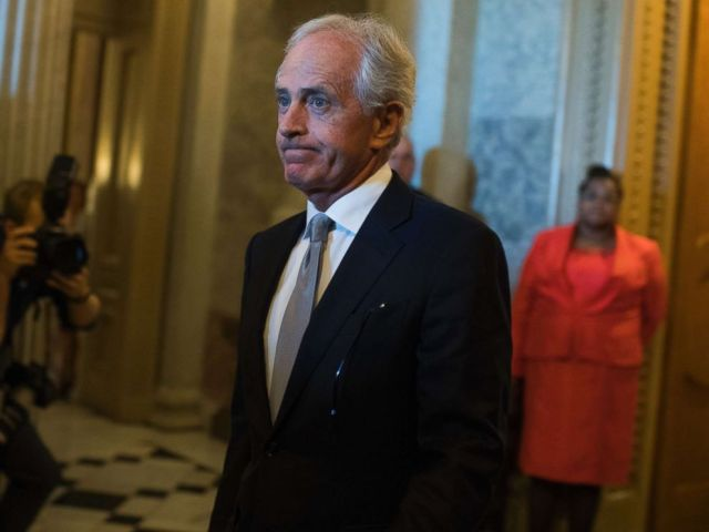 PHOTO: Sen. Bob Corker, R-Tenn., is seen leaving the Senate floor in the Capitol on October 24, 2017.