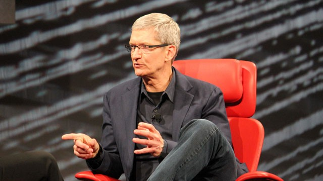 PHOTO: Apple CEO Tim Cook speaks at the All Things D conference in Los Angeles.