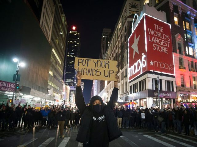 PHOTO: Protestors occupy Herald Square during march Dec. 4, 2014, in New York, against a grand jurys decision not to indict the police officer involved in the death of Eric Garner.