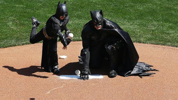 AP batkid jtm 140408 16x9 608 Batkid Throws First Pitch at San Francisco Giants Game