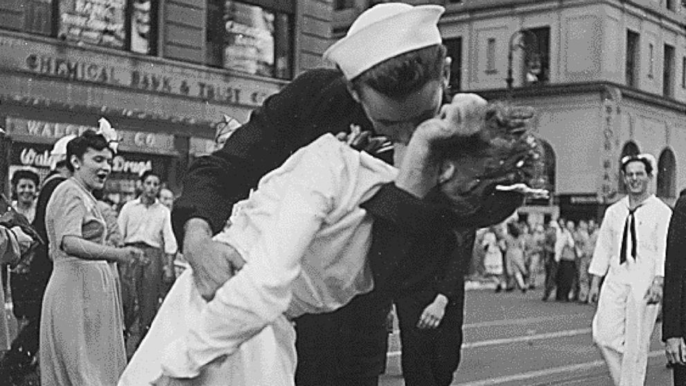 PHOTO: U.S. Navy sailor Glenn Edward McDuffie kisses a nurse in Times Square in an impromptu moment at the close of World War II, after the surrender of Japan was announced in New York, Aug. 14, 1945.