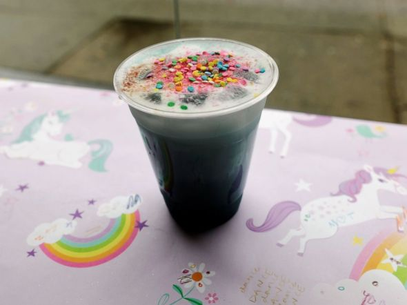 PHOTO: An iced Unicorn Latte is pictured at the cafe The End in New York, May 5, 2017.