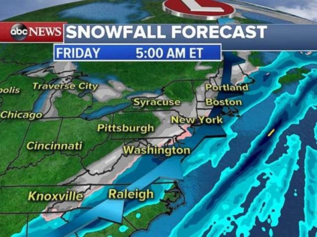 Snow will be falling from Virginia up through the I-95 corridor and into New England on Friday morning.