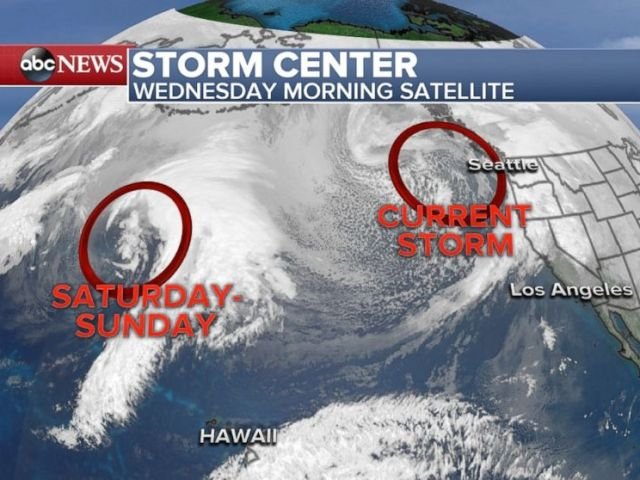 One storm is battering the Pacific Northwest on Wednesday with another to follow over the weekend.