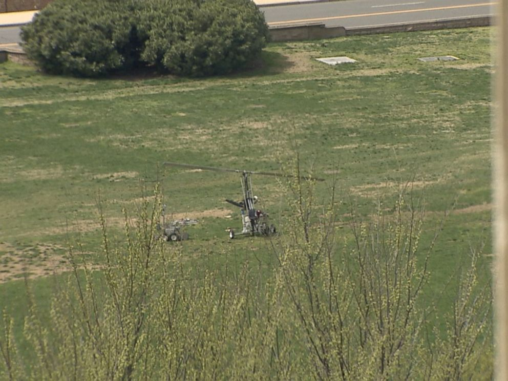 PHOTO: A gyrocopter is seen after landing on the lawn of the US Capitol, April 15, 2015. The pilot was arrested.