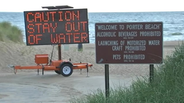 PHOTO: Swimmers have been ordered to stay out of Lake Michigan in parts of northwest Indiana after a mysterious, slimy substance showed up in the water on June 17, 2013.