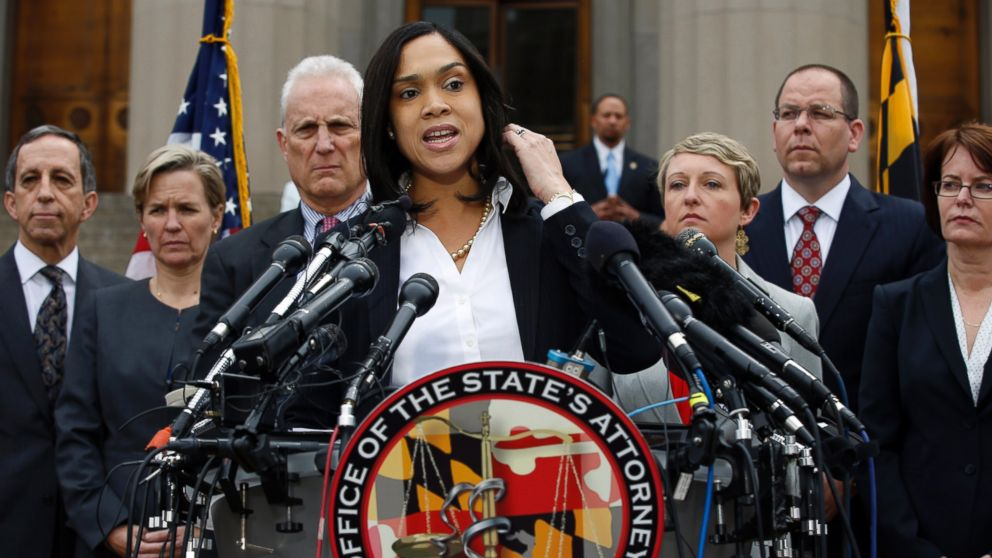 PHOTO: Marilyn Mosby, Baltimore states attorney, speaks during a media availability, Friday, May 1, 2015 in Baltimore.