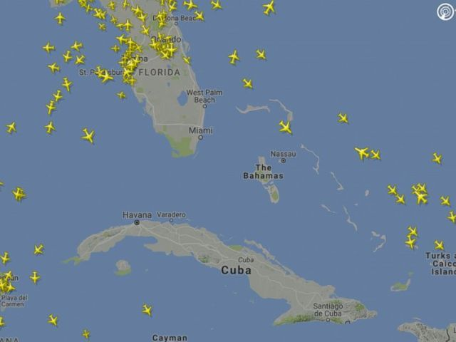 PHOTO: A flight radar image illustrates how air traffic in south Florida has virtually stopped.