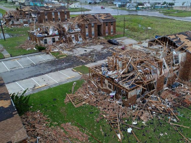 PHOTO: Aerial footage from Salt Grass Landing Apartments in Rockport, Texas damaged by Harvey, Aug 27, 2017.