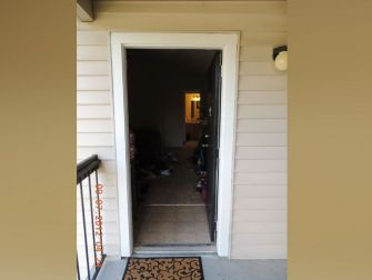 PHOTO: The path to the bedroom in the apartment where Faith Hedgepeth was found murdered is pictured here.