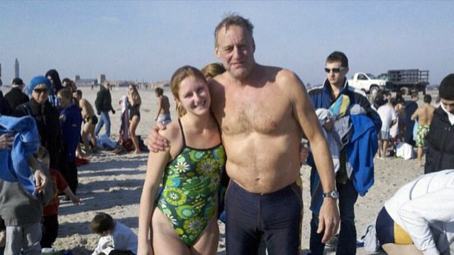 PHOTO: Roy Lester and his daughter 21-year-old daughter Jessica at the 2011 New Year?s day Jones Beach Polar Bear Dip. Even though Lester doesn't currently lifeguard at Jones Beach, he still enjoys participating in the yearly event.