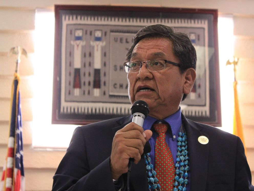 PHOTO: Navajo Nation President Russell Begaye makes an announcement on Aug. 8, 2015 about the Navajo Nation response to the release of mine waste into the Animas River which has impacted the Navajo Nation water supply.