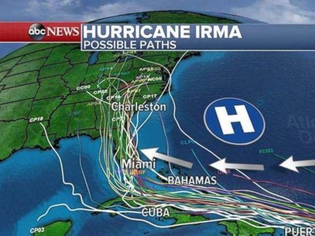 PHOTO: Possible paths of Hurricane Irma as of Sept. 5, 2017, at 5 a.m. ET.
